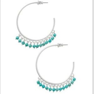 Stella & Dot Wanderlust Turquoise & Silver Hoops